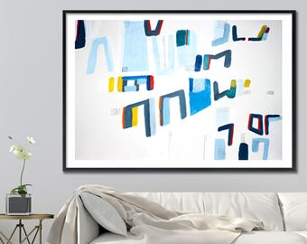 Large Abstract Painting PRINT, Geometric art, 28X40 large wall art, Giclee Print, mid century modern art, Blue grey, Acrylic painting