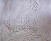 Vintage Towel H Monogram Damask Bath Towel Mothers Day Stunning Embroidered Monogram French Bath Towel, French Towel