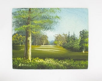 Original Oil Painting, Miniature Painting, Lush Green Landscape, Decor