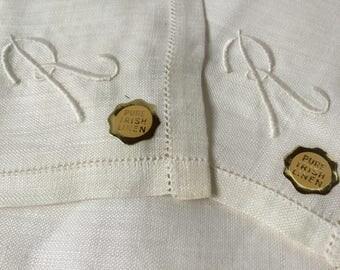 White Irish Linen Hankies 5 Monogrammed R Initial Men's Fine Linen Handkerchiefs UnUsed Hankies Vintage Boxed Set Groomsmen Gifts