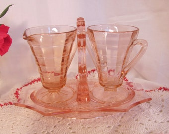 Block Optic Pink Depression Glass Creamer and Sugar with Carrier by Anchor Hocking