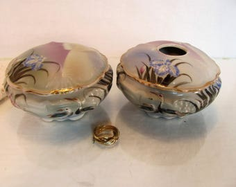Powder Jar and Hair Receiver, Hand Painted in Japan, Gold Gilt , Dresser Jar Set