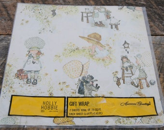 Vintage Holly Hobbie Gift Wrap American Greetings
