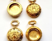 Vintage Pocket Watch Base, Watch Case Bezel, Open Face, Jewelry Making, Vintage Jewelry Supplies, Antique Gold, 27mm, Bsue, Item0621