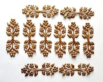 Vintage Floral Sprig, Leaf Sprig, Leaf Findings, Vintage Jewelry Supplies, Beading Supplies, Gingerbread Brass, B'sue Boutiques, Item02169