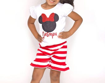 Girls Red and White Stripe Ruffled Knit Shorts, Toddler Girl Baby Infant Shorts, Vacation Birthday Summer Ready to Ship 2T 3T 4T
