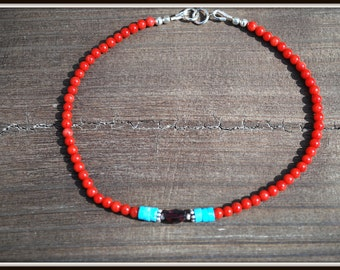 Coral Anklet, Coral Ankle Bracelet, Turquoise Anklet, Turquoise Ankle Bracelet, Red Ankle Bracelet, Small Bead Anklet, Red Ankle Jewelry