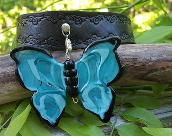 Handcrafted leather collar adorned with lampwork turquoise glass butterfly