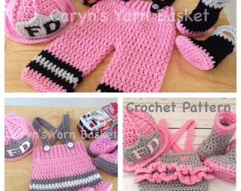 3 CROCHET PATTERNS!  Newborn Size, Fireman Pants, Ruffled Butt Diaper Cover Set & Fireman Skirt Set, All Included in PDF Download