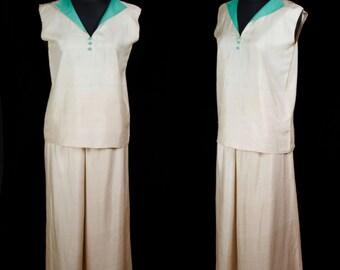 1920s Lounge Pajamas // Silk Jade Green Collar Wide Leg Pajamas PJs