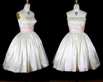 SPRING SALE 1950s Dress // Sequin Strapless White Satin Full Skirt Party or Wedding Dress