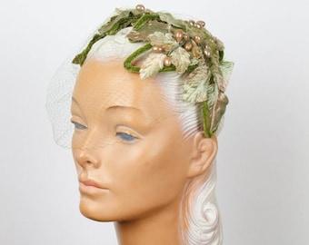 SPRING SALE 1950s Hat // Leaf Velvet Millinery Headband with Green Veil
