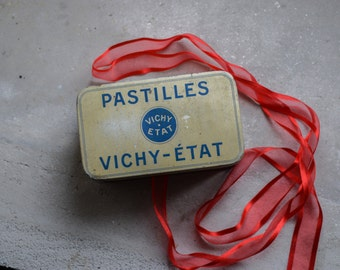 Vintage French Vichy Tin // 1950 Candy Box // Storage Tin