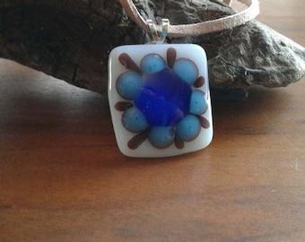 Blue flower glass pendant
