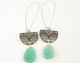 Long Amazonite Earrings, Amazonite Silver Earrings, Aqua Tribal Earrings, Tribal Pattern Earrings, Half Circle Earrings |EC1-32
