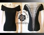 RAZOR BACK - Junior/Womens Cut up, Shredded Top great for Festival Wear, Yoga Wear, or anytime fun wear T-4002