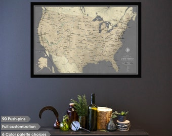Push Pin Travel Map With Frame Push Pin Map For Family - Us map picture frame