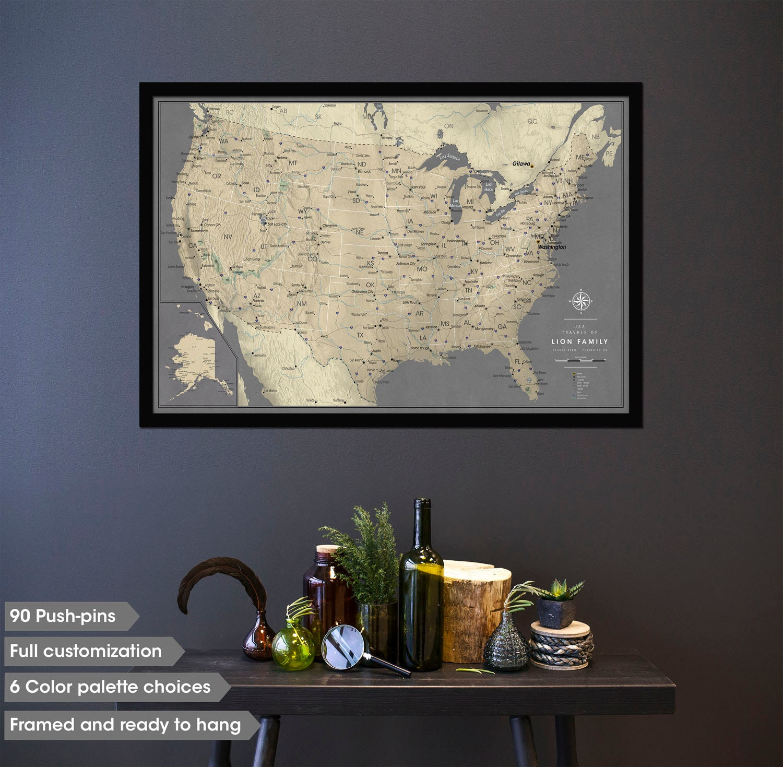 United States Push Pin Map Framed United States Travel Map - Framed travel map with pins