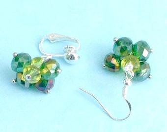 Handmade earrings clip or pierced green crystal clusters silverplate by Pat2