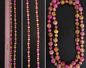 Pink and Yellow Long Beaded Necklace