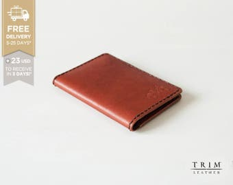 Leather Card Holder Wallet Simple [Handmade] [Custom Stamps] [Custom Colors] [SALE] [Free Shipping]