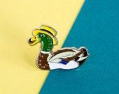 Duck Enamel Pin Badge - Birds in Hats Mallard in a Boater Pin Badge, Lapel Badge, Hat Pin, Duck pin, Bird pin