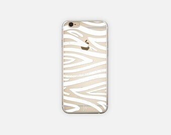 iPhone Case - Clear - White Abstract Pattern - 5/5s/SE - 6/6s - 6/6s Plus - Minimalist - Stocking Stuffer - Gift for Coworker, Teacher