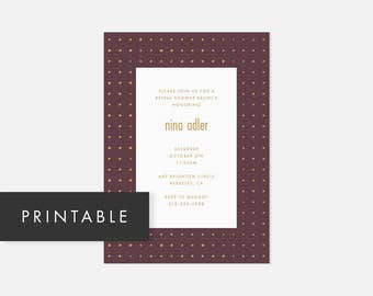 Modern DIY Invite / Minimalist Invitation Printable / Dotted Pattern / Muted Purple and Yellow / Bridal Shower, Baby Shower, Engagement