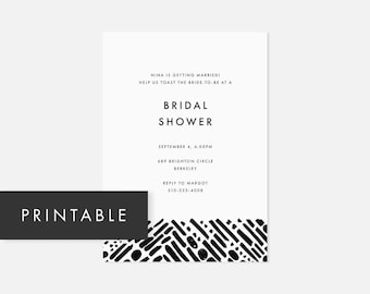 Simple Printable Invitations / Minimalist Modern Invite / Bold Pattern / Black and White / Bridal Shower, Baby Shower, Engagement Party