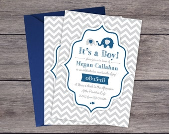 Baby Shower Invitations - Elephant Baby Shower Invitations - Printed Invitation Cards - Personalized Chevron Baby Shower Invitations