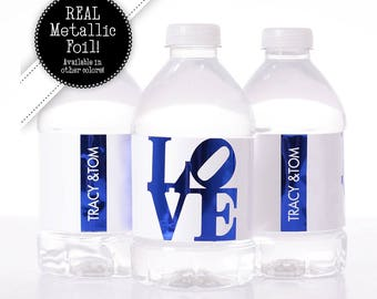ADDITION to ORDER - 250 Wedding Water Bottle Labels - REAL Metallic Foil Water Bottle Labels - Shiny Wedding Water Bottle Labels