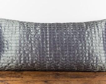 "Pewter silk blend textured 14 x 28"" pillow cover"