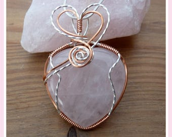 Rose Quartz Heart Pendant, wire wrapped in Sterling Silver and Copper