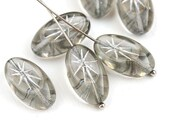 19x10mm Large oval beads, Grey and Silver rays czech glass puffy pressed bead - 6Pc - 2943