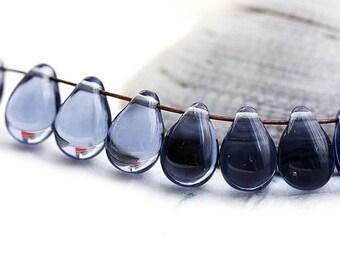 6x9mm Montana Blue teardrops, Czech Glass Blue drop beads, pressed raindrop top drilled bead - 20pc - 1008