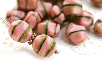 Pink Oval Czech glass beads, pink and green mixed color, wavy pressed beads, 9x8mm - 20Pc - 2684