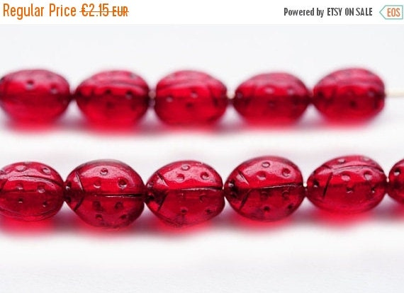 30%OFF SALE Red ladybugs, Small ladybirds, Czech Glass beads - dark red transparent, black dots - 7x5mm - 25Pc - 0173