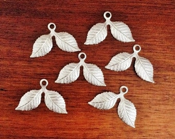 Silver Double Leaves, Brass Leaf Charms, Brass Stamping, Brass Finding, Dapped Dapt 26mm x 17mm - 6 pcs. (ss297)
