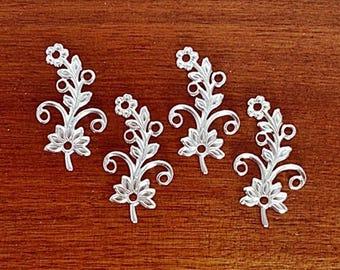 Silver Flower, Brass Flower, Brass Leaf, Brass Stamping, Earring Drop, Left Facing, 38mm x 22mm - 4 pcs. (ss330)