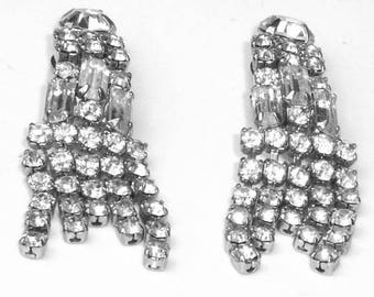 Rhodium Plate Baguette Round Cut Rhinestone Dangle Clip Old Hollywood Glamour Mid Century Vintage 1950's Costume Jewelry Statement Earrings