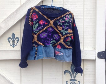Vintage cropped sweater navy blue floral, embroidered heavy cotton sweater Upcycled