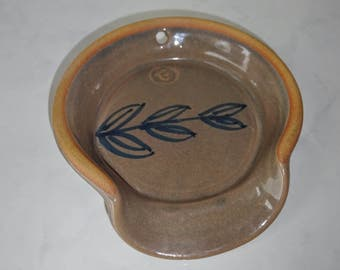 Vintage Spoon Rest Ceramic Brown Hang on Wall