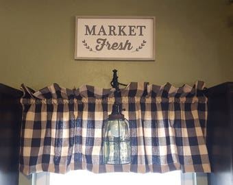 Black Ivory Buffalo Check Curtain Panels or Valance