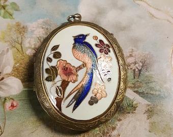 1970s Cloisonne Bird Locket