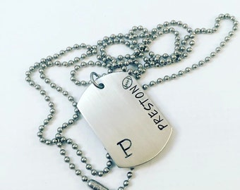 Hand Stamped Boy's Dog Tag - Name Dog Tag - Custom Hand Stamped Dog Tag Necklace - Personalized Jewelry - Custom Dog Tags - Gift for Him