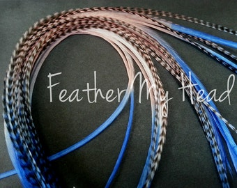 "Feather Hair Extensions - Multi Color Medium Length 7"" - 9"" (18-23cm) Long - 5 Pc - Blue Pink - Sandy Beaches"