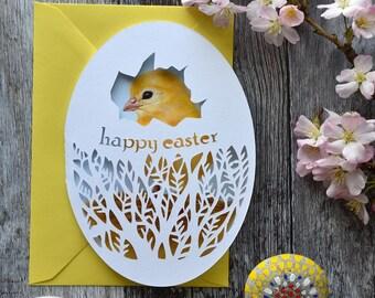 Easter Chick - Happy Easter - Beautiful Paper Cut Card - Original Design - Easter Egg