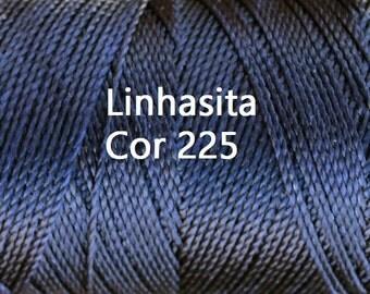 Linhasita Dark Blue cor 225, Waxed Polyester Macrame Cord Durable/ Hilo/ Spool