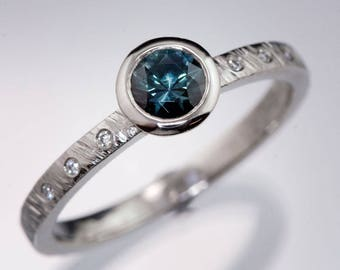 Round teal Green-blue Montana Sapphire Palladium Bezel Set Textured Engagement Ring, Canadian Diamond Accents, ready to ship size 4.5 - 9