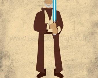 Star Wars A New Hope - The Old Knight - Obi-Wan Kenobi Art Print - poster, rebel, jedi, star wars, minimalist
